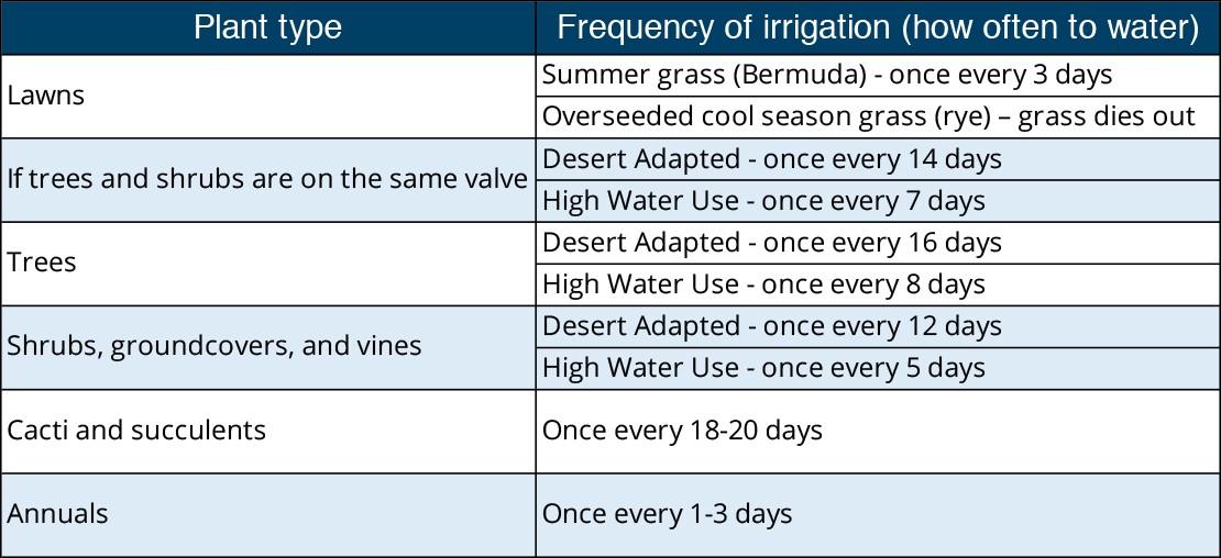 July watering schedule